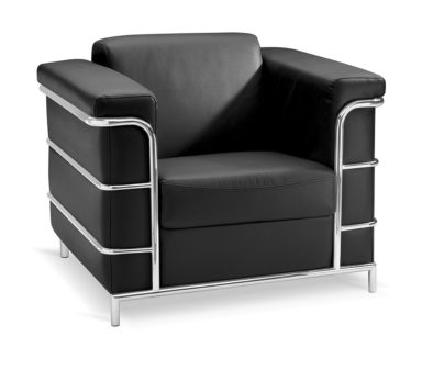 Leather chair with chrome frame